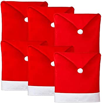 Callenbach 6Pcs Chair Covers for Dining Room Table Decoration Santa Hat Chair Back Cover for Xmas Restaurant Holiday Festival Party Decor
