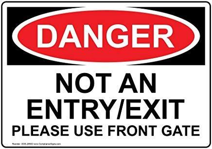 Gevaar Geen ingang/uitgang Gelieve gebruik Front Gate OSHA Veiligheid Metalen waarschuwingsborden, Private Sign, Tuin hek Yard Sign 8