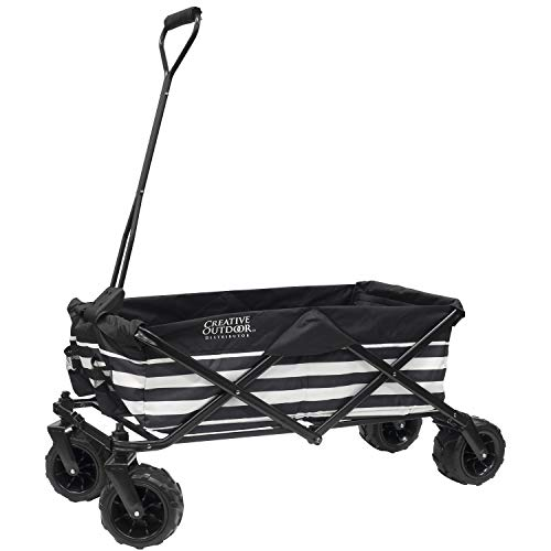 Creative Outdoor Collapsible Folding Wagon Cart for Kids and Pets | All Terrain | Beach Park Garden Sports & Camping | Black & White Stripes