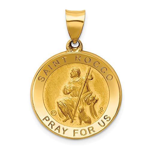 St. Rocco Medaillen-Anhänger, 18,7 mm, 14 Karat, poliert, Satin, Schmuck, Geschenke für Frauen