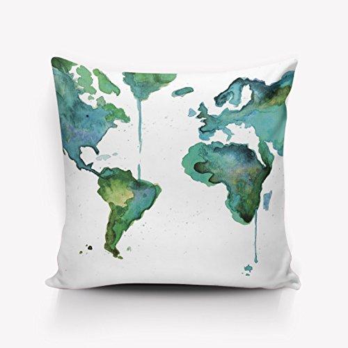 N\A Weiche quadratische Kissenbezüge Süße Tintenkarte Home Dekorative Baumwollleinen-Kissenbezüge Etui Kissenbezug Dekor für Couch Bed Chair