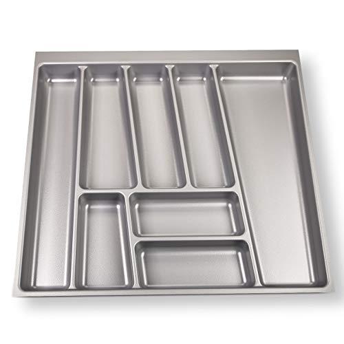 ORGA-Box® II Besteckeinsatz für Nobilia 60er Schublade (462 x 505 mm Bitte MESSEN SIE Ihr SCHUBLADENINNENMAß!) Silbergrau
