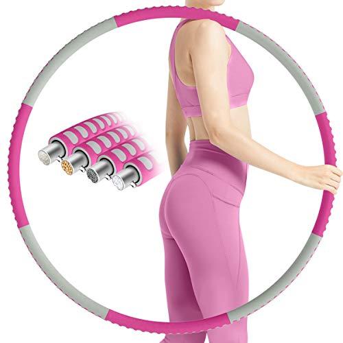 TTMOW Hula Hoop Reifen Erwachsene Bauchformung, Fitness Hoola Reifen mit Schaumstoff Komfortable, Gewichtet Einstellbar Hullahub Reifen mit Stabiler Edelstahlkern, 8 Abnehmbarer für Zuhause/Büro