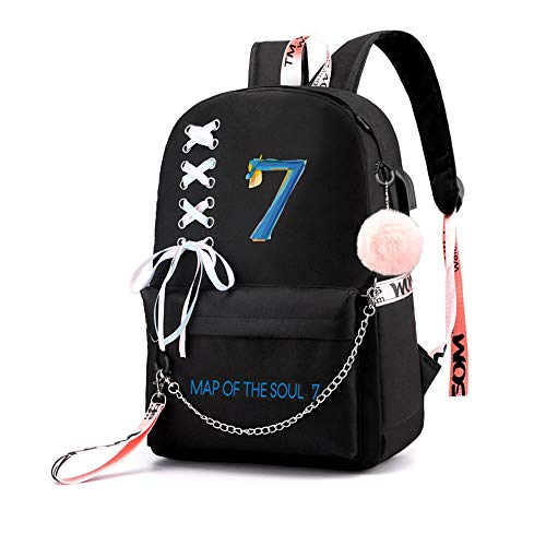 liKpop USB BTS Map of The Soul 7 Backpack Jimin Suga Jin Taehyung V Jungkook Korean Casual Backpack Daypack Laptop Bag College Bag Book Bag School Bag
