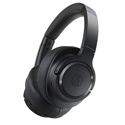 Audio Technica ATH-SR50BTBK Sound Reality Bluetooth Wireless Over-Ear Headphones High-Resolution Audio Foldable with Microphone includes Travel Pouch (Black)