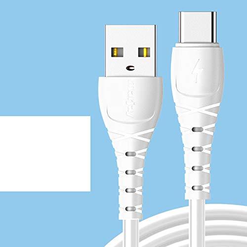 Cable de carga rápida tipo C para Samsung S10 S9 S8 Cargador rápido USB-C Cable para Xiaomi Redmi Cable de datos para Huawei P30 Blanco para Tipo C 1m