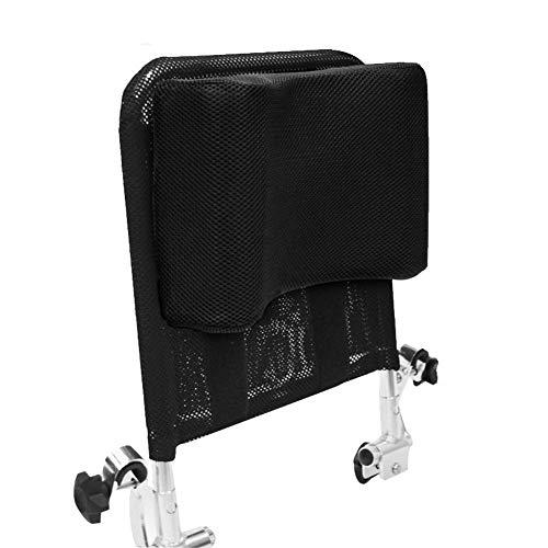 Juanya Cojín ajustable para reposacabezas de silla de ruedas con tubo de mango trasero, soporte para respaldo de cuello de 40,6 a 50,8 cm, color negro