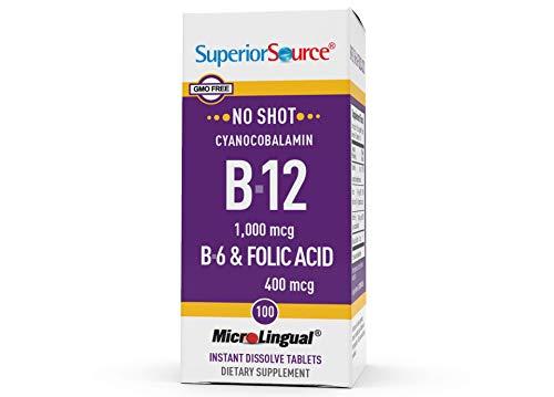 Superior Source No Shot Vitamin B12 Cyanocobalamin (1000 mcg), B6, Folic Acid, Quick Dissolve Sublingual Tablets, 100 Ct, Increase Energy, Healthy Heart, Boost Metabolism, Stress Support, Non-GMO