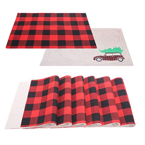 OUTCREATOR Buffalo Plaid Placemats Christmas Decorations,12'x 18' Set of 6,Dual-Sided Heat-Resistant Polyester Cotton Check Placemats for Christmas Holiday Dining Table Home Decorations (Black & Red)