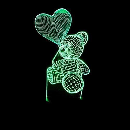 Luz nocturna 3D 3D USB LED de mesa de la noche de la luz del hogar de la decoración del oso abrazo del amor globo luz niño juguete novia regalo junto al sueño toque y control remoto regalo