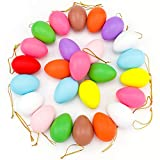 Easter Plastic Eggs, 24 Pieces Easter Egg Tree Decorations Ornaments, Colorful Plastic Easter Hanging Ornaments for Home Office Party Supplies, 10 Colors