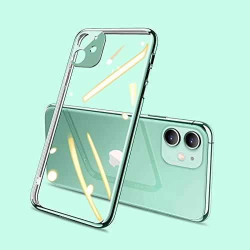 zhuizhu Funda telefónica de TPU Transparente Simple para iPhone 11 Pro MAX X XR XS MAX 7 8 6 6S Plus DE Silicona Soft SILICONAS A Prueba de Golpes (Color : Light Green, Material : For iPhone 6Splus)