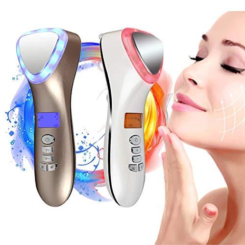 GHHYS Heiß- und Kalt-V-Gesichtsmassagegerät, Hochfrequenz-LED-Lichttherapie, elektrisches 5-in-1-Gesichtsmassagegerät, wiederaufladbares USB-Schönheitswerkzeug