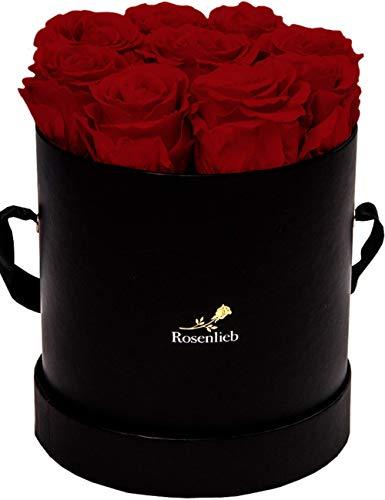 Rosenlieb Rosenbox mit 9 Infinity Rosen (3 Jahre haltbar) | Echte konservierte Blumen | Flowerbox Inkl. Grußkarte| Geschenk Box für Frau, Freundin, Weihnachten, Valentinstag (Medi Bella Schwarz, Rot)