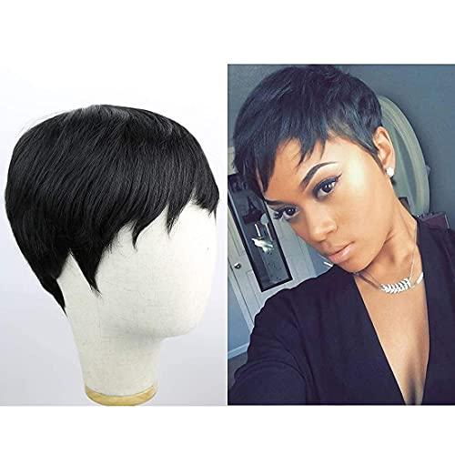 Flandi Short Pixie Cut Human Hair Wigs with Bangs for Black Women Short Virgin Human Hair Pixie Wigs Short Layered Human Hair Wigs for Women(1B#)