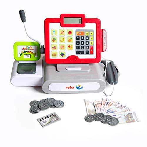 Caja registradora para niños roba, Caja registradora de juguete con sonido, luz x scanner, con funciones de calculo, microfono, altavoz y dinero de juguete.