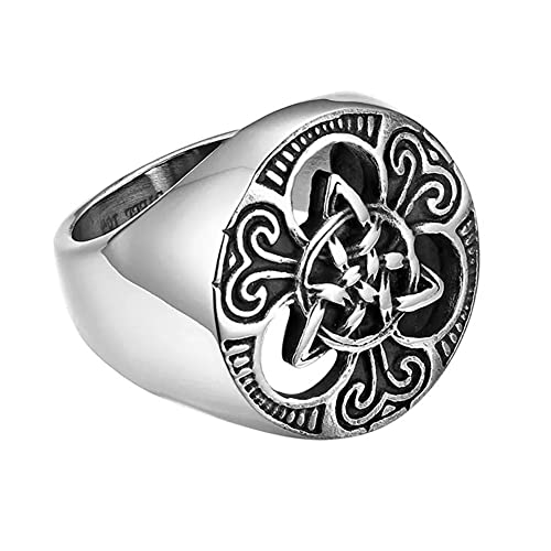 Acero Inoxidable Triquetra Celtic Knot Ring Para Hombres, Vintage Hollow Hacia Fuera Irlandés Trinity Knot Ring Totem Amuleto, Nordic Viking Classic Religion Protection Statement Jewelry ( Size : 09 )
