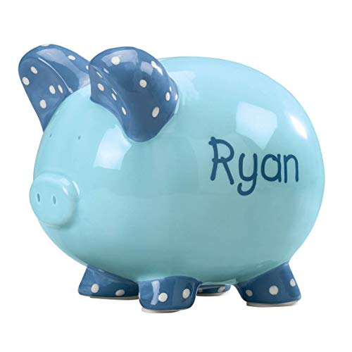 Personalized Ceramic Kid's Font Piggy Bank - Blue