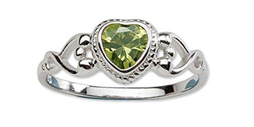 Precious Pieces, anello da bambina in argento Sterling con pietra portafortuna in zircone