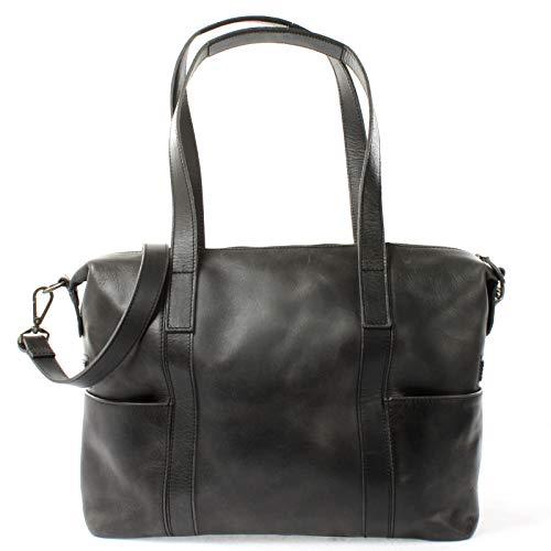 LECONI Shopper Vintage-Look Damen Henkeltasche Schultertasche Echt-Leder Natur Damentasche Ledertasche Umhängetasche Handtasche Leder 37x28x15cm dunkelgrau LE0061-buf