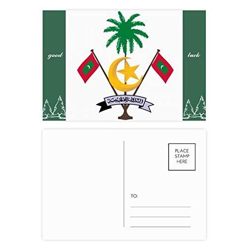 Malediven Azië Nationaal Embleem Good Luck Postkaart Set Kaart Mailing Zijde 20 stks