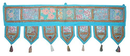 Ethnische indische Heimdekoration Patchwork & Stickerei Wandteppich, 99,1x 33cm Türkis