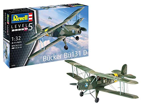 Revell 03886/3886 Bücker Bü131 D originalgetreuer Modellbausatz für Experten, Mehrfarbig, 1/32