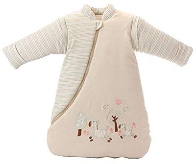 lulupila - Saco de dormir para bebé, con forro, para primavera, otoño e invierno, mangas extraíbles, para bebés y niños, 100% algodón, talla 80/90
