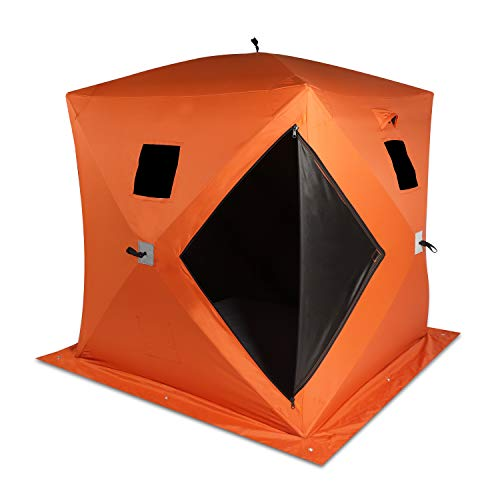 VikiullfIce Shelter Tent - 2 Person WaterproofPop upIce Fishing Tent Portable Ice House with Detachable Ventilated Windows & Ground Nail, Orange