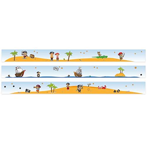 Wandkings Bordüre - Wähle ein Motiv - Piraten und Schatzsuche - 3x selbstklebende Wandbordüren je 150 cm - Gesamtlänge: 450 cm - Höhe: 12,5 cm