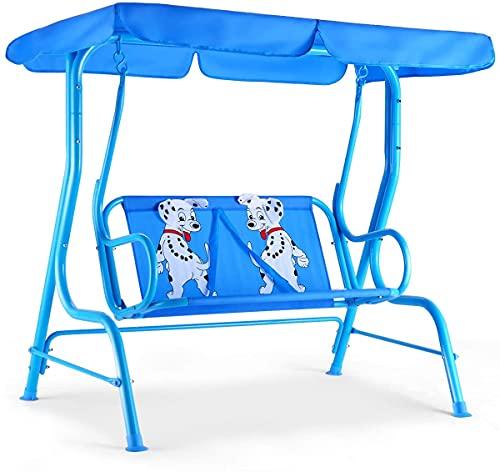 GYMAX Dondolo per Bambini da Esterno in Acciaio, Dondolo per Bambini a 2 Posti con Tettuccio e Cintura di Sicurezza, Ideale per Cortile, Nido e Giardino, Portata 80 kg (Blu)