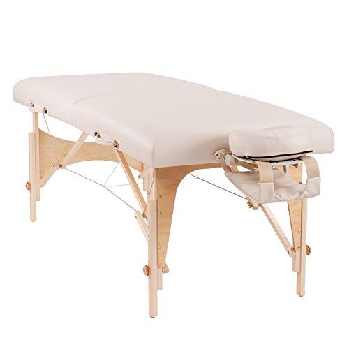 """Oakworks Profi-Massageliege""""The ONE III"""" (76 cm), klappbar, mobil, opal-weiß, mit verstellbarer Kopfstütze, Armschlaufe und Transporttasche, Massagetisch, Massagebank"""