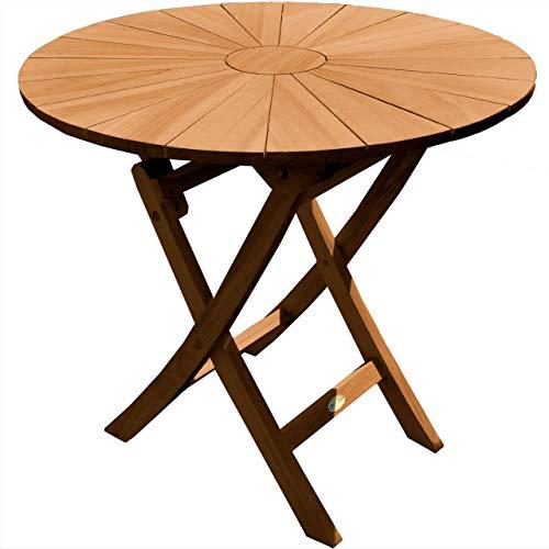 Klapptisch rund Sassari Teak Massivholz Durchmesser 100 cm + 40,- €