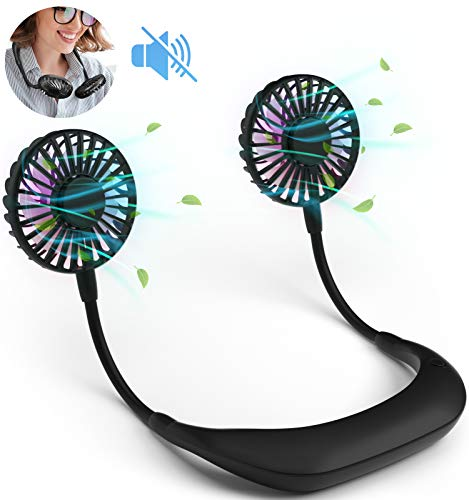 RIYA Portable Hanging Neck Fan Including 2 pcs USB Rechargeable Battery and Charger, Wearable Neckband for Kitchen Cooking, Strong Airflow Quiet Operation