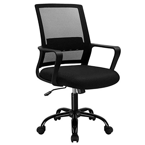 JUMMICO Office Chair Mid Back Mesh Chair Ergonomic Lumbar Support Desk Chair Swivel Computer Task Chair Modern Executive Chair with Armrests