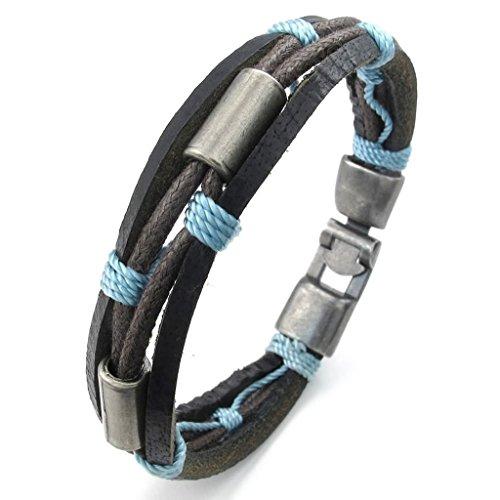 Legierung Armbänder, Herren Link Armbänder Legierung Randstein Blau Braun Länge 8 IN Epinki