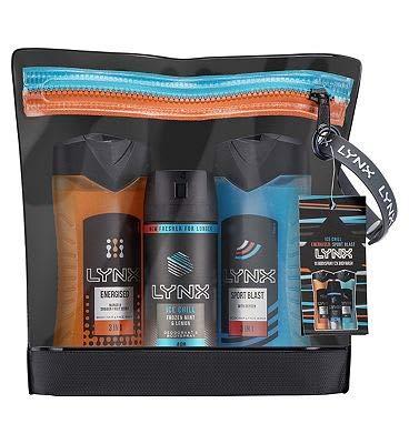 Lynx Sports Trousse de toilette avec déodorant et déodorant Energisé, Ice Froid et Sport Blast Wash