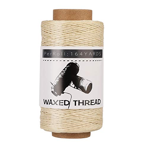 Jupean Waxed Thread, 150m /164Yards Beige Leather Waxed Thread, Leather Sewing Thread, Hand Stitching Thread for Hand Sewing Leather, Bookbinding, and Beginners Leather Craft DIY