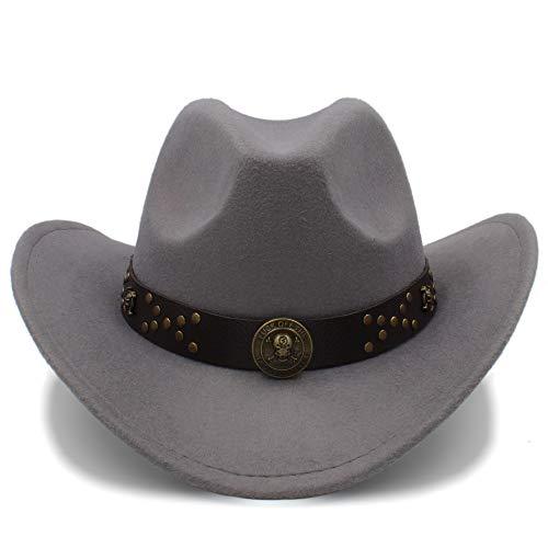 HHF Caps y Sombreos Vintage Cowgirl Cowboys Sombreros Unisex Felt Jazz Cap, Western Cowboy Hats Gorras de Viaje para Mujeres Gorras de Hombres Sombreros (Color : Gris, tamaño : 56-58cm)