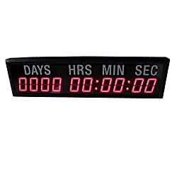 AZOOU 2.3-inch 10 Digits with Red Color LED Timer Countdown/up Wall Mounted Clock with Days Hours Mins Secs