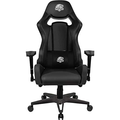 One Gaming Chair Ultra Black Full Leather - Echtleder Gamingstuhl - Verstellbare Armlehne & Höhe - Inkl. Kissen - Maximalbelastung: 130 Kg - Chefsessel - Bürostuhl - Schreibtischstuhl