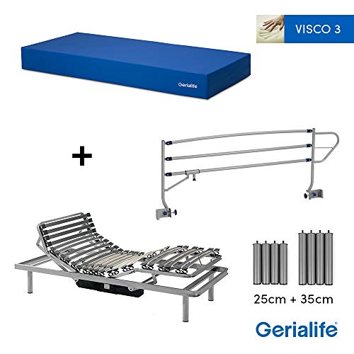 Gerialife® Pack Cama articulada eléctrica   Colchón Sanitario viscoelástico   Barandillas abatibles...