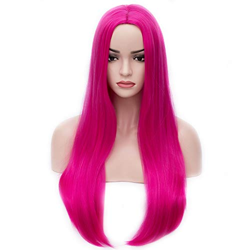 BERON 25 inches Silky Long Straight Wig Charming Women Girls Straight Wigs for Cosplay Party or Daily Use Wig Cap Included (Hot Pink)