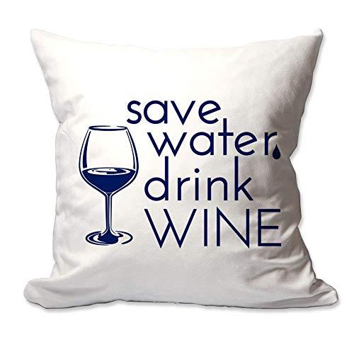 Kysd43Mill Save Water Drink Wine - Funda de cojín decorativa (45,7 x 45,7 cm), color azul marino