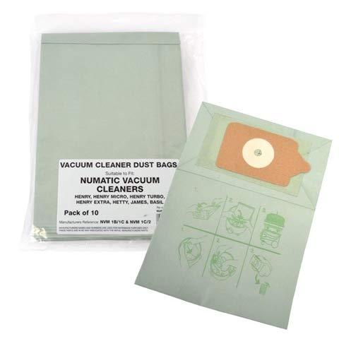 Electruepart Sacchetti di carta di ricambio per aspirapolvere Numatic di Henry Hoover, a doppio strato, confezione da 20