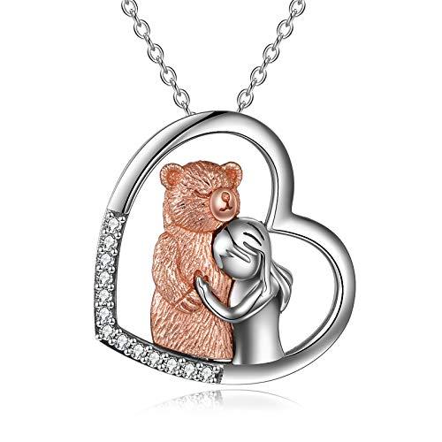 YFN Collar con colgante de niña y oso de plata de ley 925 con collar de oso para mujeres y niñas