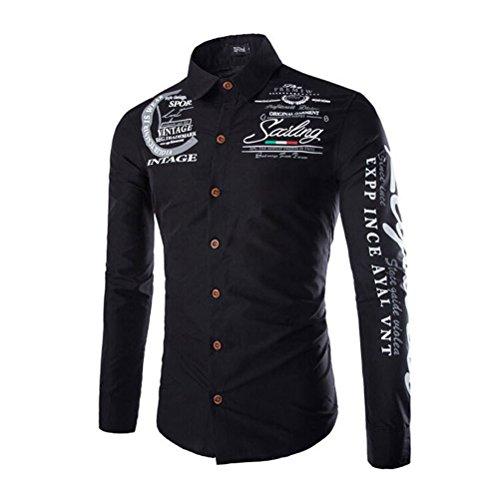 Unomor, camicia da uomo a maniche lunghe, con bottoni, alla moda, stampa con lettere, taglia XXL(nero)