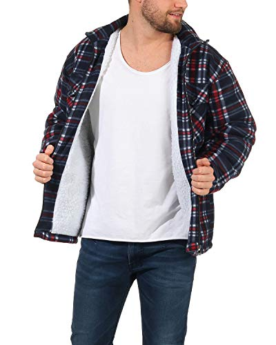 ZARMEXX Camicia termica da uomo a quadretti, con pelliccia di peluche, fodera interna in pile a quadri, calda imbottitura Mod.2379-blu/rosso XXXL