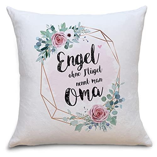 Engel Oma Flauschiges Kissen mit Aufschrift Geschenke Geschenkideen für Oma zum Geburtstag Zierkissen mit Füllung