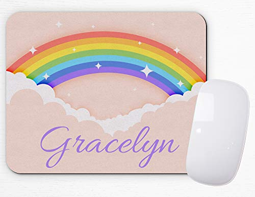 Personalized Mouse Pad - Add Your Name - Beautiful Vivid Detailed Print. Brighten up Your workspace or Customize for a Gift. (Rainbow Ray)